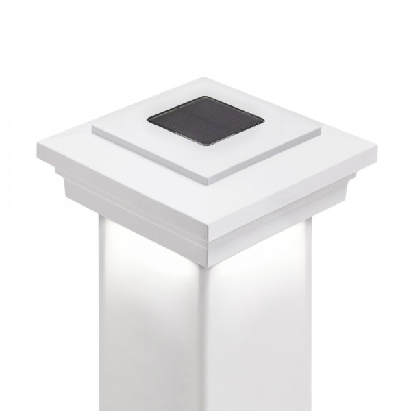 Cape May Downward Solar Post Cap by LMT (White)
